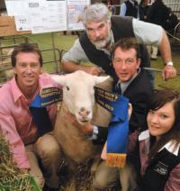 Senior Champion ram at Hamilton Sheepvention with Glenn Mc Grath